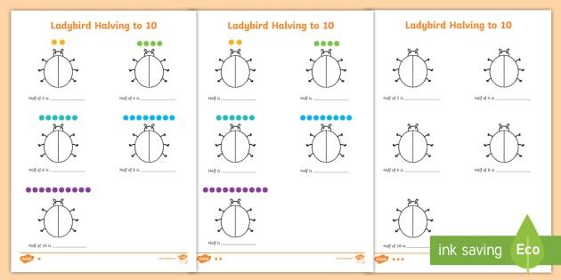 Differentiated Halving To 10 Ladybird Worksheet   Worksheet