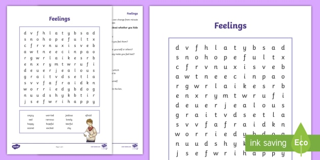 Feelings Word Search And Worksheet   Worksheet
