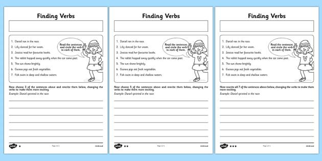 Finding Verbs Worksheet   Worksheet