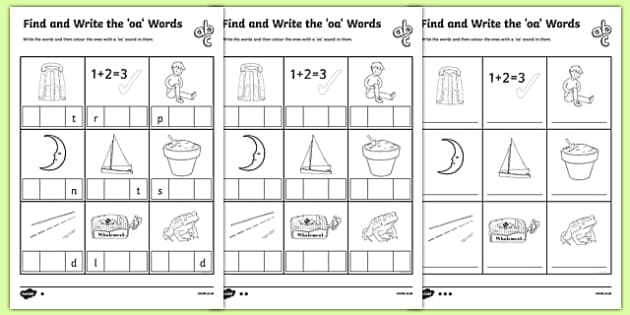 Words With Oa In Them Differentiated Activity Pack