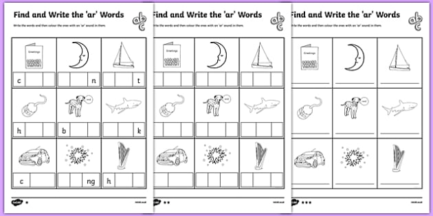 Find And Write The Ar Words Differentiated Worksheet   Worksheet Pack