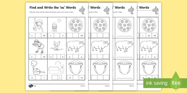 Find And Write The Ou Words Differentiated Worksheet   Worksheets