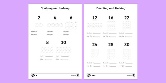 Ks1 Doubling And Halving Worksheet