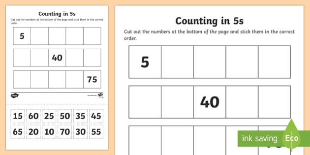 Counting In 5s Cut And Stick Worksheet   Worksheet