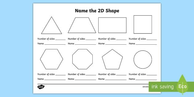 Name The 2d Shape Ks1 Worksheet