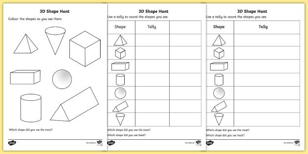 3d Shape Hunt Worksheet   Worksheet