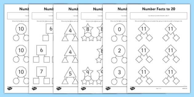 Number Facts To 20 Worksheet   Worksheets