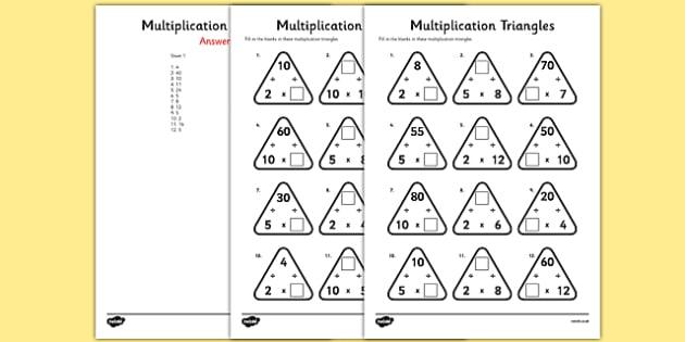 Multiplication Triangles Worksheet   Worksheet 2, 5 And 10 Times