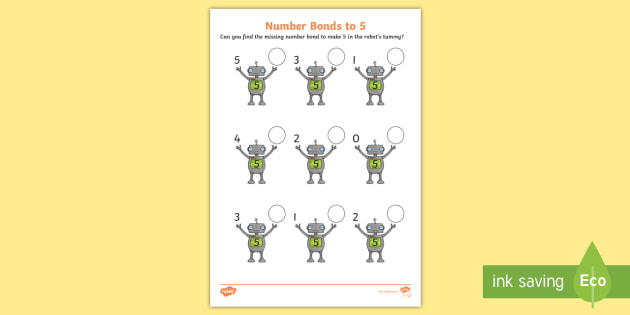 Number Bonds To 5 On Robots Worksheet   Worksheet