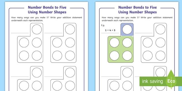 Number Bonds To Five Using Number Shapes Worksheet