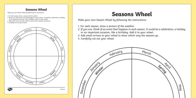Seasons Wheel Worksheet   Worksheet