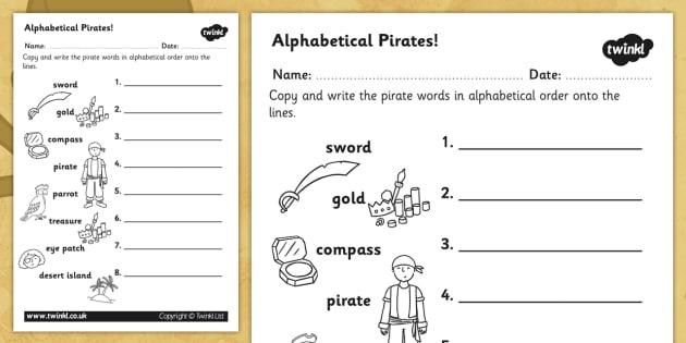Pirate Alphabet Ordering Worksheet