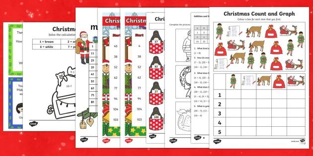 Ks1 Top Ten Christmas Maths Worksheets
