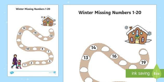 Winter Path Missing Numbers To 20 Worksheet   Worksheet