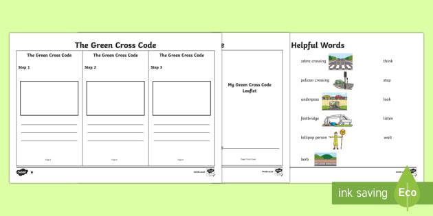 The Green Cross Code Writing Worksheet   Worksheet