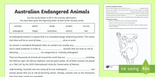 Endangered Australian Animals Differentiated Worksheet   Worksheets