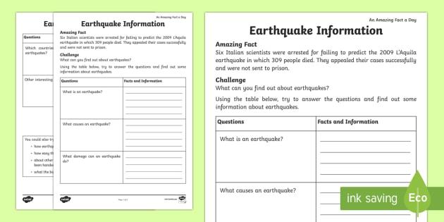 Earthquake Information Worksheet   Worksheet