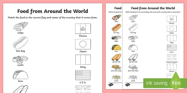 Food From Around The World Matching Worksheet   Worksheet