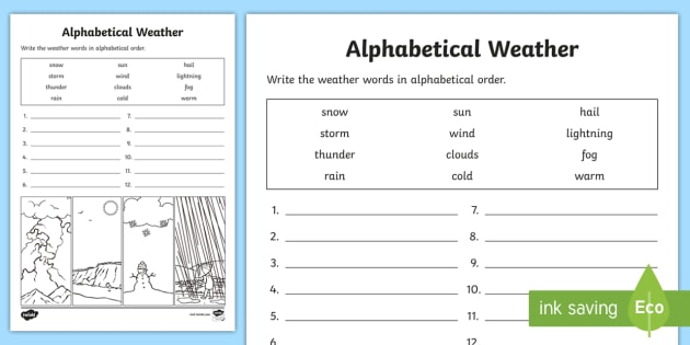 Weather Alphabet Ordering Worksheet