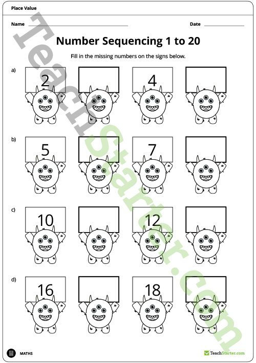 Number Sequencing 1 To 20