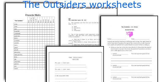 The Outsiders Worksheets