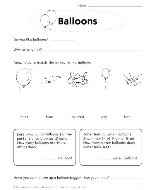 Preschool Thinking Skills Worksheets