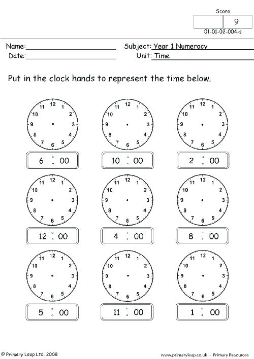 Time Worksheets For Grade 1 All Download And Share Adverb Of Place
