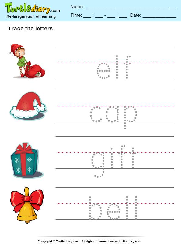 Trace Christmas Words Worksheet