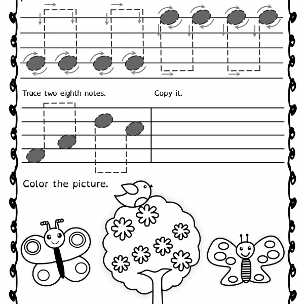 Tracing Music Notes Worksheets For Spring   Anastasiya Multimedia