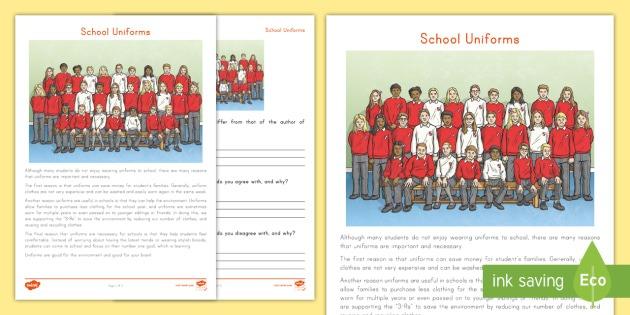 School Uniforms Point Of View Worksheet   Worksheet