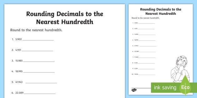 Rounding Decimals To The Nearest Hundredth Worksheet   Worksheet