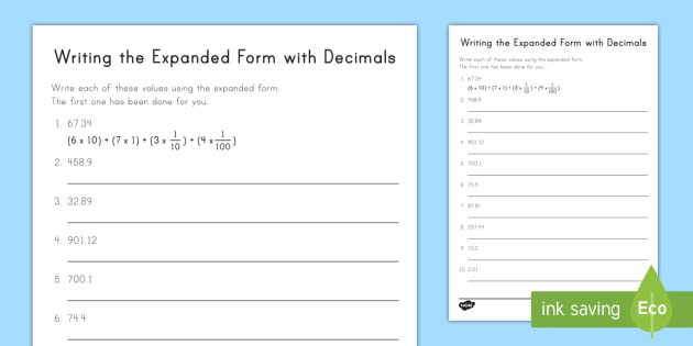 Writing The Expanded Form With Decimals Worksheet   Worksheet