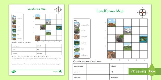 Landforms Coordinate Grid Map Worksheet