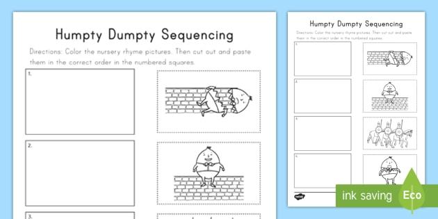Humpty Dumpty Sequencing Worksheet   Worksheet