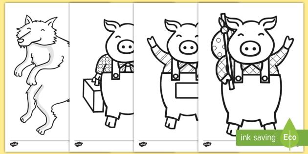 Three Little Pigs Coloring Worksheet   Worksheets