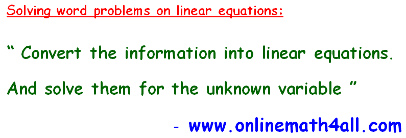 Solve Linear Equations Word Problems Worksheet