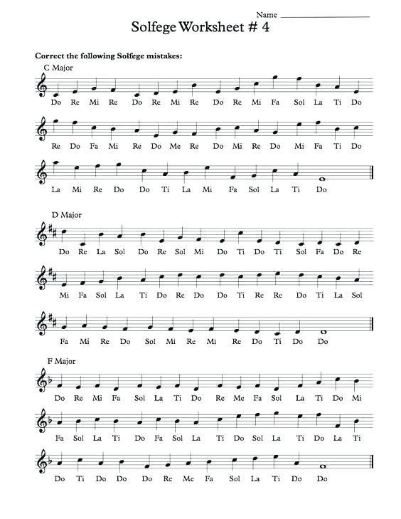 Music Solfege Worksheets