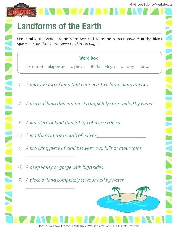 Science Landforms Worksheets