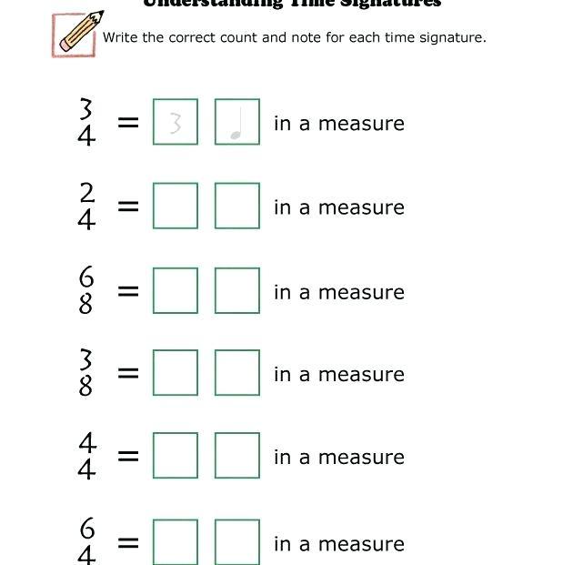 Worksheet On Basic Understanding Of Time Signature Grade Music