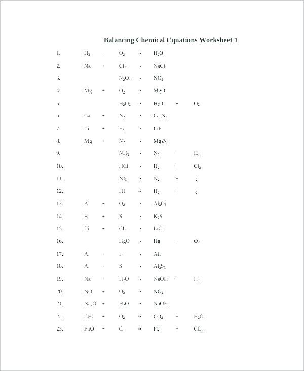 Free Chemistry Worksheets