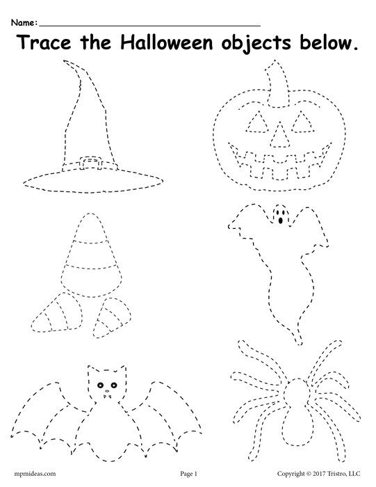 Free Printable Halloween Tracing Worksheet