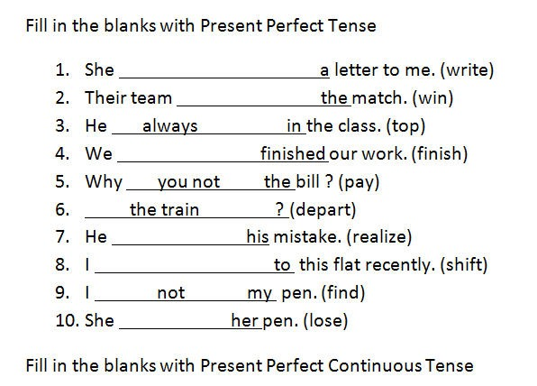 Present Perfect And Present Perfect Continuous Tenses