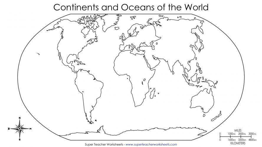 Blank World Map Worksheet Kids