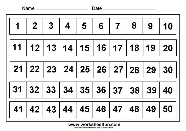Kindergarten Worksheets For Numbers 1 50  Numbers Assessments