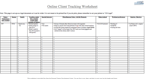 Personal Trainer Client Tracking Spreadsheet [download]
