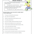 Simple Subjects Worksheets