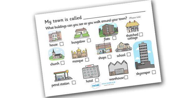 Buildings In My Town Worksheet