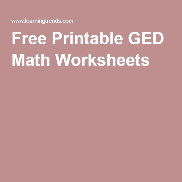 Free Printable Ged Math Worksheets