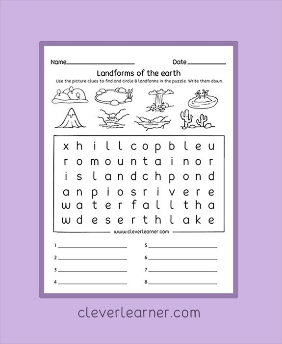 Landforms Puzzle Worksheets For Children Preschool  Homeschool