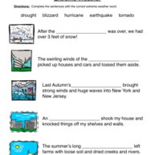 Natural Disasters Fill In The Blanks Worksheet